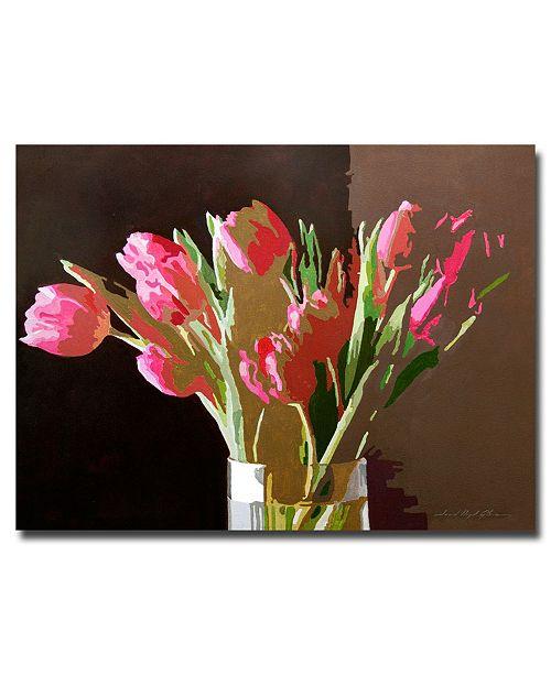"Trademark Global David Lloyd Glover 'Pink Tulips in Glass' Canvas Art - 47"" x 35"""