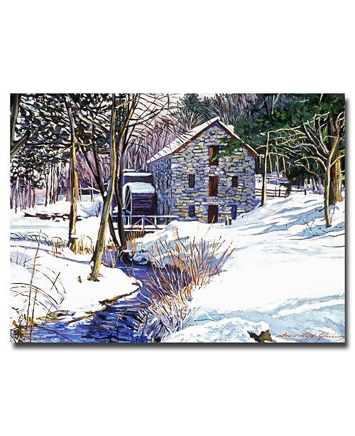 "Trademark Global David Lloyd Glover 'Snow Mill' Canvas Art - 24"" x 18"""