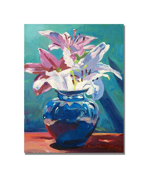 "Trademark Global David Lloyd Glover 'Lilies in Blue' Canvas Art - 47"" x 35"""