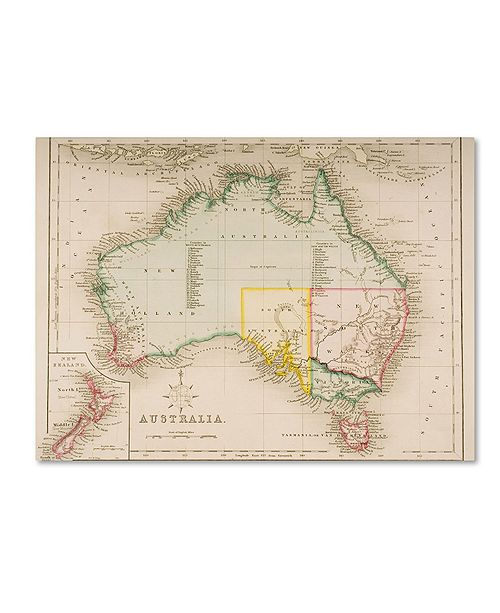"Trademark Global J. Archer 'Map of Australia and New Zealand' Canvas Art - 14"" x 19"""