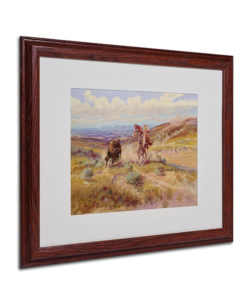 """Trademark Global Charles Russell 'Spearing a Buffalo 1925' Matted Framed Art - 20"""" x 16"""""""