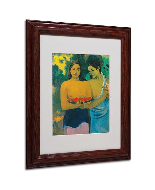 "Trademark Global Paul Gauguin 'Two Tahitian Women 1899' Matted Framed Art - 14"" x 11"""