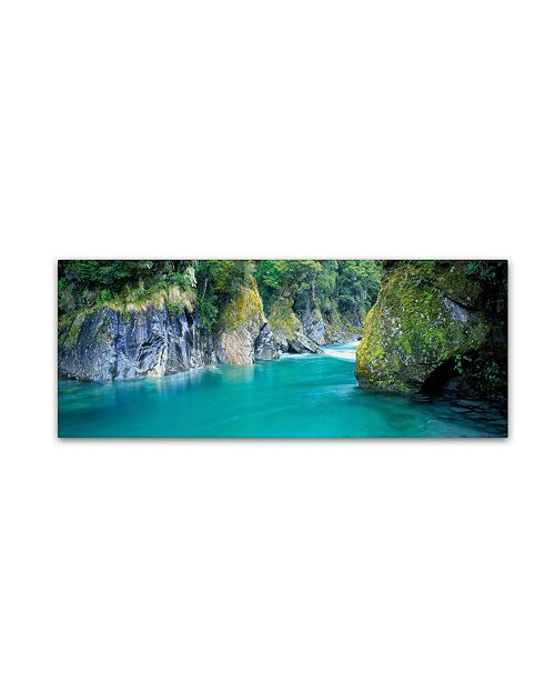 "Trademark Global David Evans 'Blue Pools-NZ' Canvas Art - 24"" x 8"""