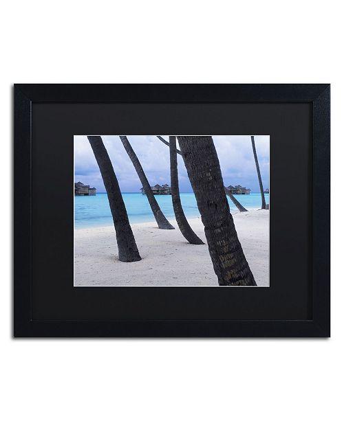 """Trademark Global David Evans 'Beach Palms-Maldives' Matted Framed Art - 16"""" x 20"""""""