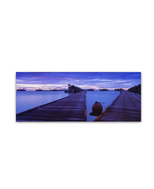 "Trademark Global David Evans 'Dawn-Gili Lankanfushi' Canvas Art - 10"" x 32"""