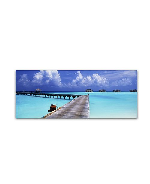 "Trademark Global David Evans 'Into the Blue-Maldives' Canvas Art - 16"" x 47"""