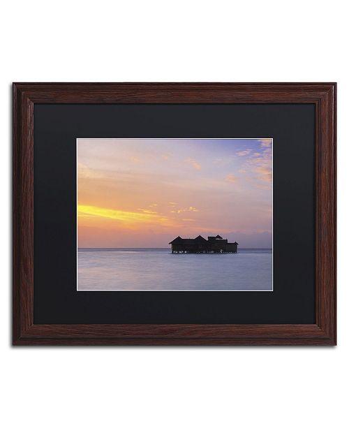 """Trademark Global David Evans 'Sunset Solitude-Maldives' Matted Framed Art - 16"""" x 20"""""""