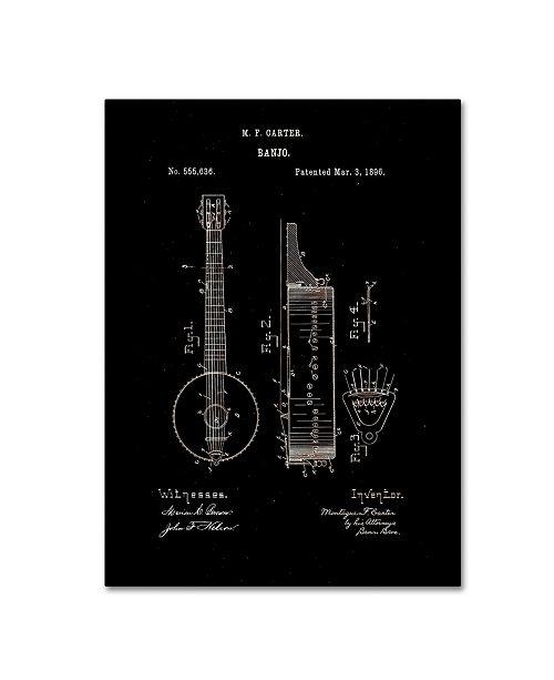 "Trademark Global Claire Doherty 'Vintage Banjo Patent 1896 Black' Canvas Art - 35"" x 47"""