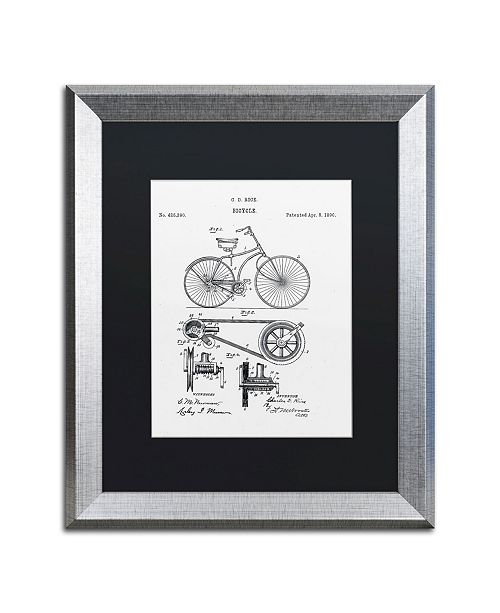 "Trademark Global Claire Doherty 'Bicycle Patent 1890 White' Matted Framed Art - 16"" x 20"""