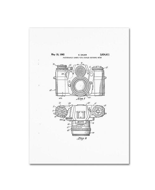 """Trademark Global Claire Doherty 'Photographic Camera Patent 1962 White' Canvas Art - 35"""" x 47"""""""