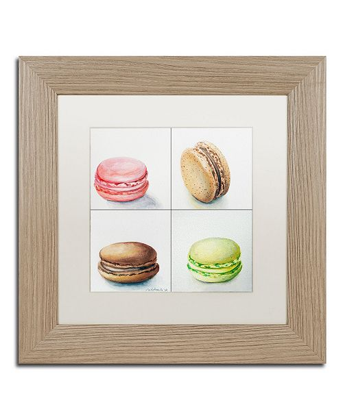 "Trademark Global Jennifer Redstreake '4 Macarons' Matted Framed Art - 11"" x 11"""