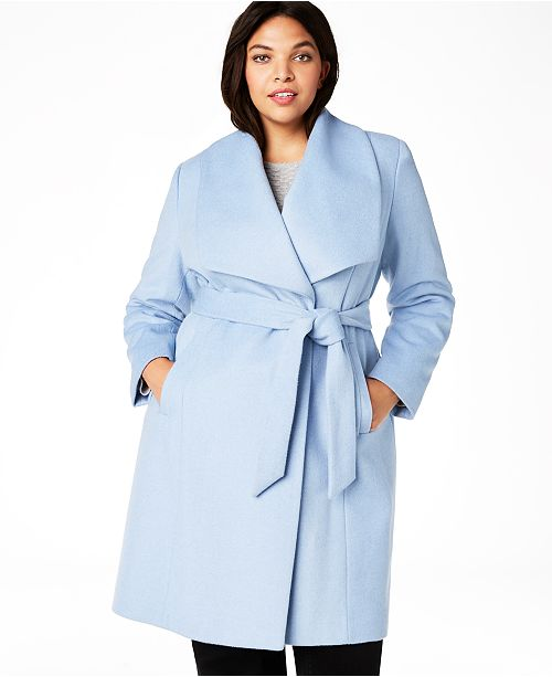 Plus Size Belted Wool Wrap Coat