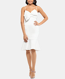 XSCAPE Satin Bow A-Line Dress