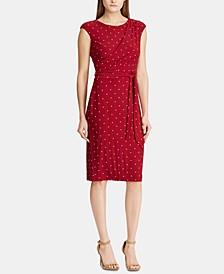Polka-Dot-Print Cap-Sleeve Jersey Dress