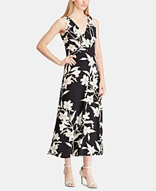Floral-Print Surplice Jersey Midi Dress