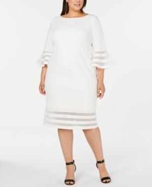Plus Size Illusion-Trim Sheath Dress in Cream