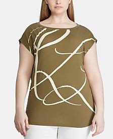 Lauren Ralph Lauren Plus-Size Monogram-Print T-Shirt