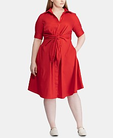 Lauren Ralph Lauren Plus Size Buttoned Fit-and-Flare Dress