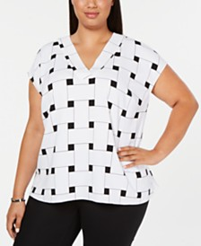 Alfani Plus Size Printed V-Neck Top, Created for Macy's