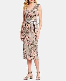 Adrianna Papell Metallic Floral-Print A-Line Dress