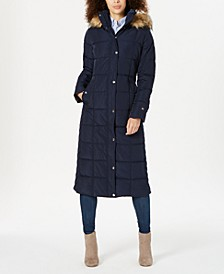 Faux-Fur-Trim Hooded Maxi Puffer Coat