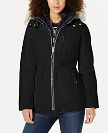 Faux-Fur-Trim Hooded Parka Coat