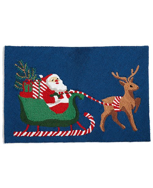 "Martha Stewart Collection CLOSEOUT! Santa 20"" x 30"" Hooked Rug, Created for Macy's"