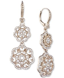 Marchesa Gold-Tone Crystal & Imitation Pearl Filigree Double Drop Earrings