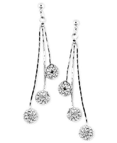 Anne Klein Silver-Tone Glass Crystal Linear Chandelier Earrings