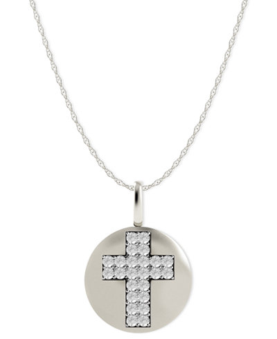 Diamond Double Cross Disk Pendant Necklace in 14k White Gold (1/10 ct. t.w.)