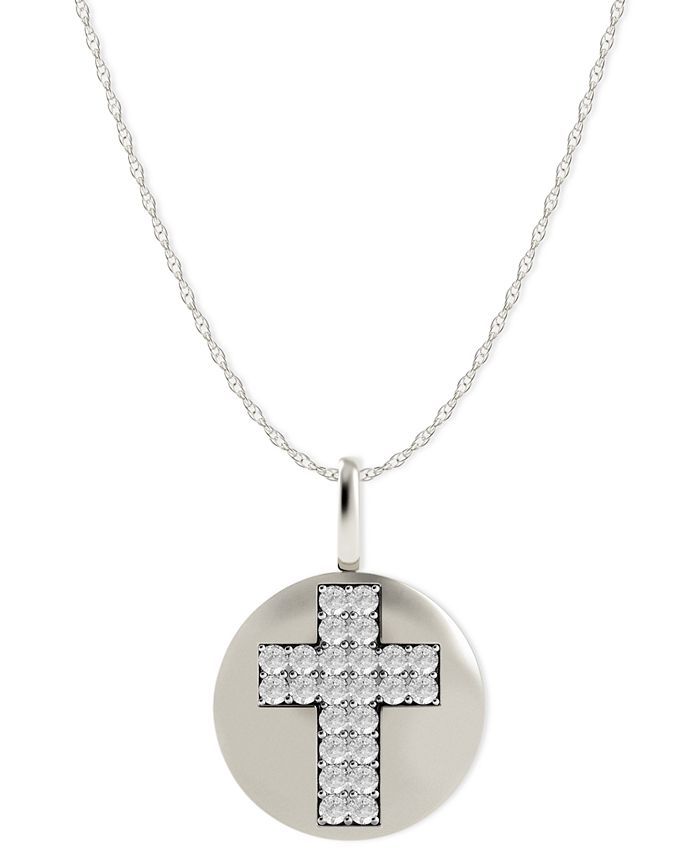 Macy's - Diamond Double Cross Disk Pendant Necklace in 14k White Gold (1/10 ct. t.w.)