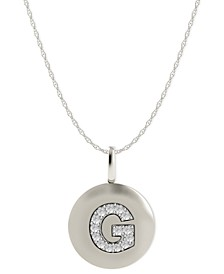 14k White Gold Necklace, Diamond Accent Letter G Disk Pendant