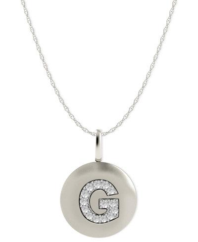 14k White Gold Necklace, Diamond Accent Letter G Disk Pendant