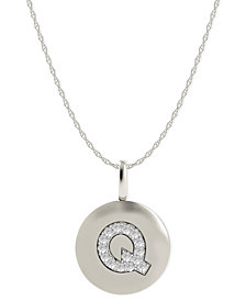 14k White Gold Necklace, Diamond Accent Letter Q Disk Pendant