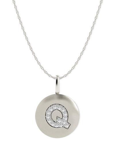 14k White Gold Necklace, Diamond Accent Letter Q Disk Pendant