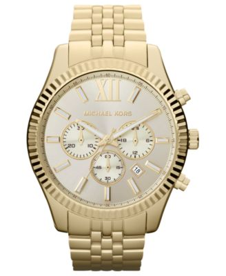Michael Kors Men\u0026#39;s Chronograph Lexington Gold-Tone Stainless Steel Bracelet Watch 45mm MK8281