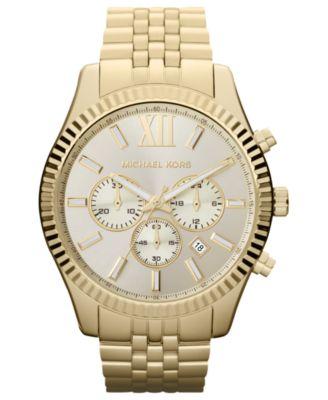 Michael Kors Men\u0026#39;s Chronograph Lexington Gold-Tone Stainless Steel Bracelet Watch 45mm MK8281