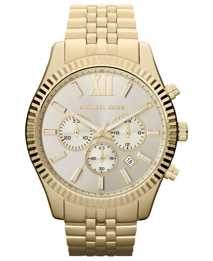 Michael Kors - Men's Chronograph Lexington Gold-Tone Stainless Steel Bracelet Watch 45mm MK8281
