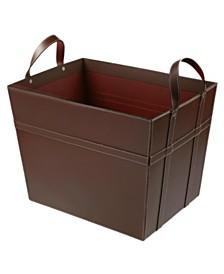 St. Croix KINDWER Leather Magazine Basket with Handles