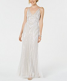 Embellished Hand-Beaded Gown