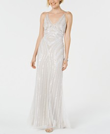 Adrianna Papell Embellished Hand-Beaded Gown