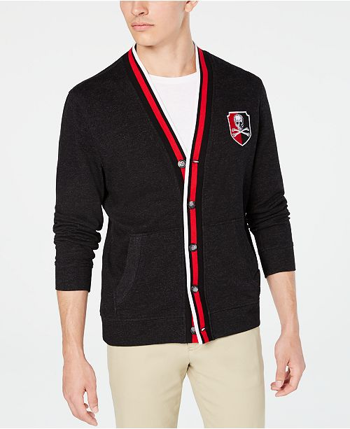 Club Room Men's Regular-Fit Stripe Placket Patch Cardigan, Created for Macy's
