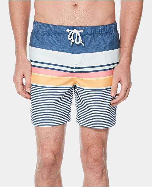 "Original Penguin Men's Engineered Stripe 6"" Swim Trunks"