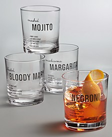Recipe Double Old-Fashioned Glasses, Set of 4, Created for Macy's