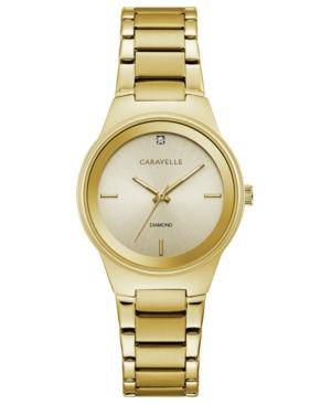 Designed by Bulova Women's Diamond-Accent Gold-Tone Stainless Steel Bracelet Watch 30mm