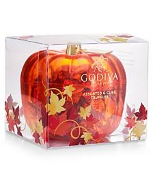 Godiva Chocolatier Assorted G Cubes in Pumpkin Candy Dish