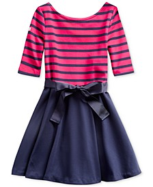 Little Girls Striped Jersey-Ponté Knit Dress