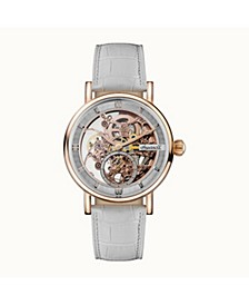Herald Automatic with Rose Gold IP Stainless Steel Case, Skeleton Dial and White Croco Embossed Leather Strap