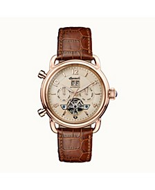 New England Automatic with Rose Gold IP Stainless Steel Case, Rose Gold Dial and Brown Croco Embossed Leather Strap