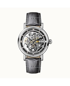 Herald Automatic with Stainless Steel Case, Skeleton Dial and Grey Croco Embossed Leather Strap